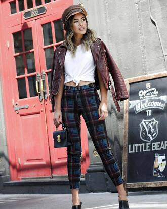 pants tumblr tartan cropped pants top white top tie-front top jacket burgundy leather jacket fisherman cap plaid pants