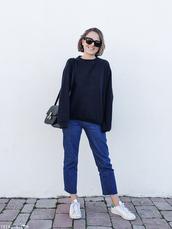 trini,blogger,sunglasses,sweater,jeans,shoes,bag,black sweater,shoulder bag,sneakers