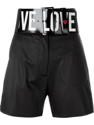 shorts high women spandex cotton black