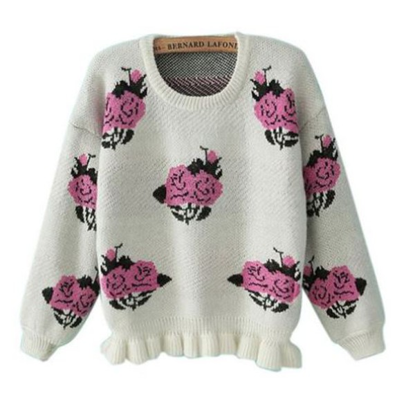beige sweater peony sweater ruffle hem sweater one size sweater beige and pink sweater www.ustrendy.com roses