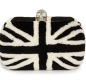 bag,clutch,fur,union jack,alexander mcqueen,furry pouch