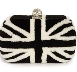 bag clutch fur union jack alexander mcqueen furry pouch