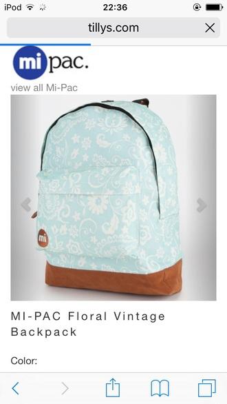 bag mi-pac mint floral vintage back to school backpack canvas rucksack