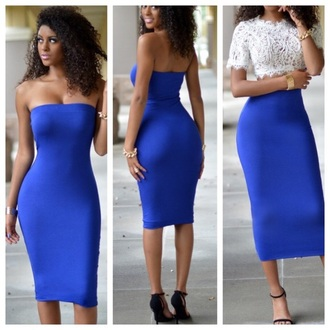 dress skirt top blue blue dress strapless strapless dress bodycon bodycon dress midi midi dress party dress sexy party dresses sexy sexy dress party outfits summer dress summer outfits sexy outfit classy dress cocktail dress girly girly dress cute cute dress date outfit birthday dress summer holidays clubwear club dress royal blue royal blue dress