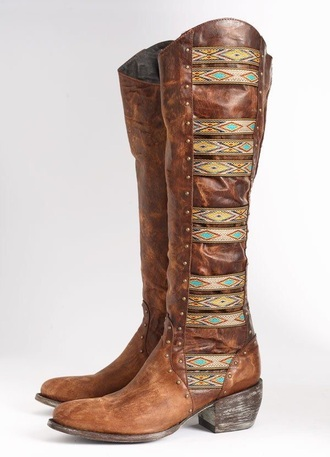 shoes boots fashion style gypsy bohemian boho chic aztec shoes cowboy boots cowgirl boots hippie summer winter swag brown shoes leather