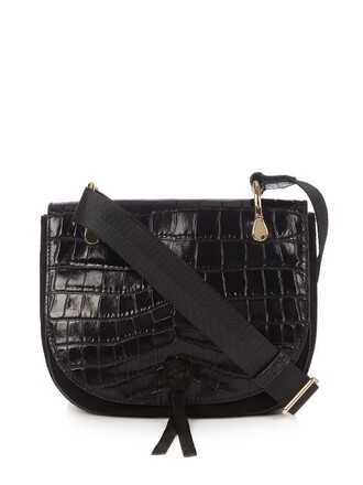 cross bag leather crocodile black