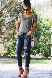 life & messy hair,blogger,shoes,grey top,ripped jeans,grey bag,chanel,cropped jeans,red sandals