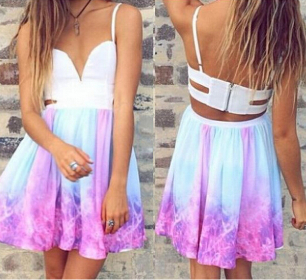 2014 Free shipping Fashion color printing cut out dress Party Dres Summer Women's Sleeveless halter sexy dress-in Dresses from Apparel & Accessories on Aliexpress.com | Alibaba Group