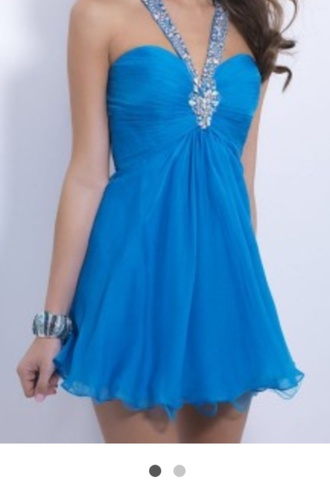dress blue silver sparkly grad semi