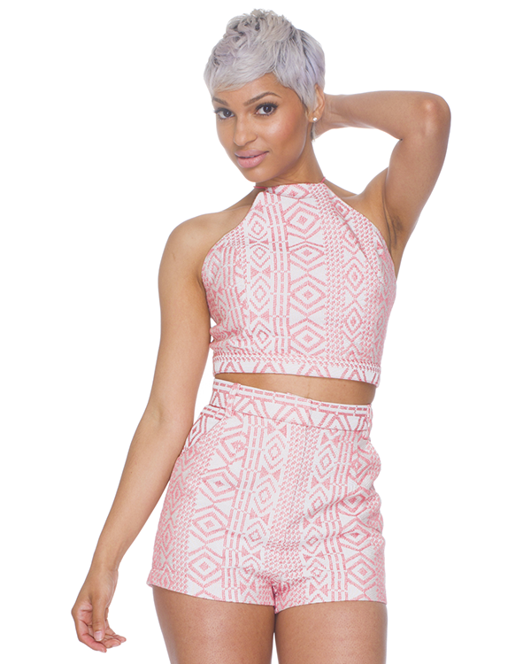 TRIBAL BEAT High Waist Shorts Set in Coral – FLYJANE