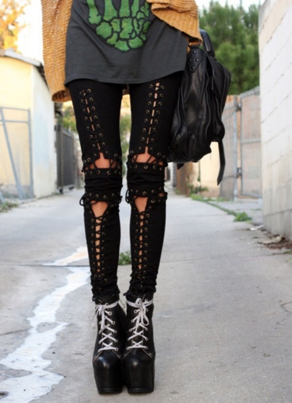 jeans lace up corset black skinny denim black corset cute punk goth rock sexy hot dark lace up pants