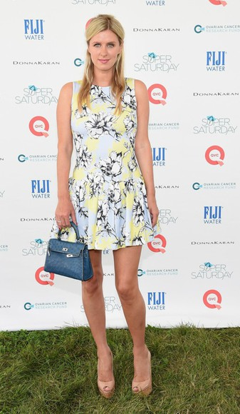 dress floral dress shorts bag nicky hilton shoes