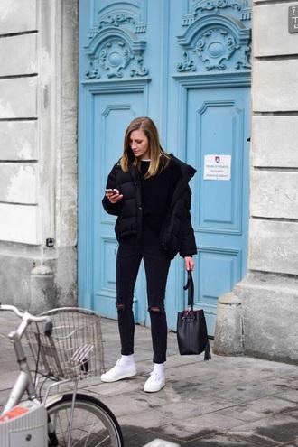 jacket black jacket sweater black sweater bag puffer jacket jeans black jeans denim white sneakers sneakers