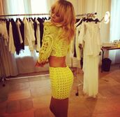 skirt,green,lime,rihanna,two-piece,cute outfits,summer outfits,summer,outfit,tumblr,tumblr clothes,tumblr fashion,instagram,clothes,cute,pretty,girly,sweater,holes,sparkle,sequence,neon,neon green,crop,top,crop tops,sexy,beautiful,rihanna style,mini skirt,tight,fit,swag,spring,party dress,style,fashion,dress,top and skirt,yellow,embellished