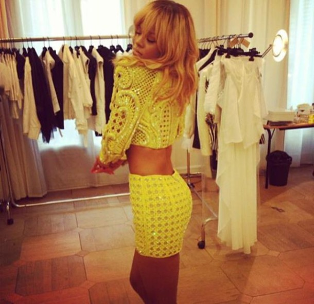 Skirt Green Lime Rihanna Two-piece Two-piece Cute Outfits Summer Outfits Summer Outfit ...