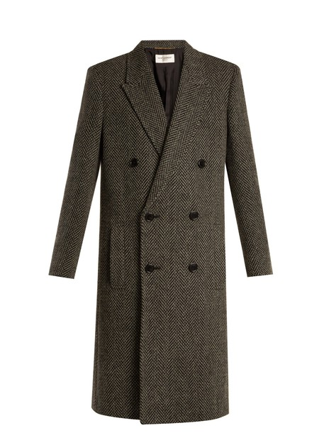 Saint Laurent coat wool black grey