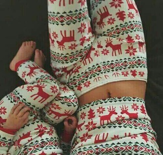 pajamas deer holiday season mother and child