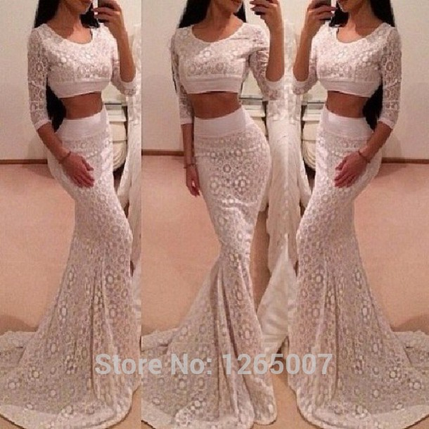 Aliexpress.com : Buy Fashion New Arrival Scoop Neck Half Sleeves Two Pieces White Maxi Long Dress Prom Dress Fashion Sexy Crop Top Long Dress from Reliable dress popular suppliers on SFBridal