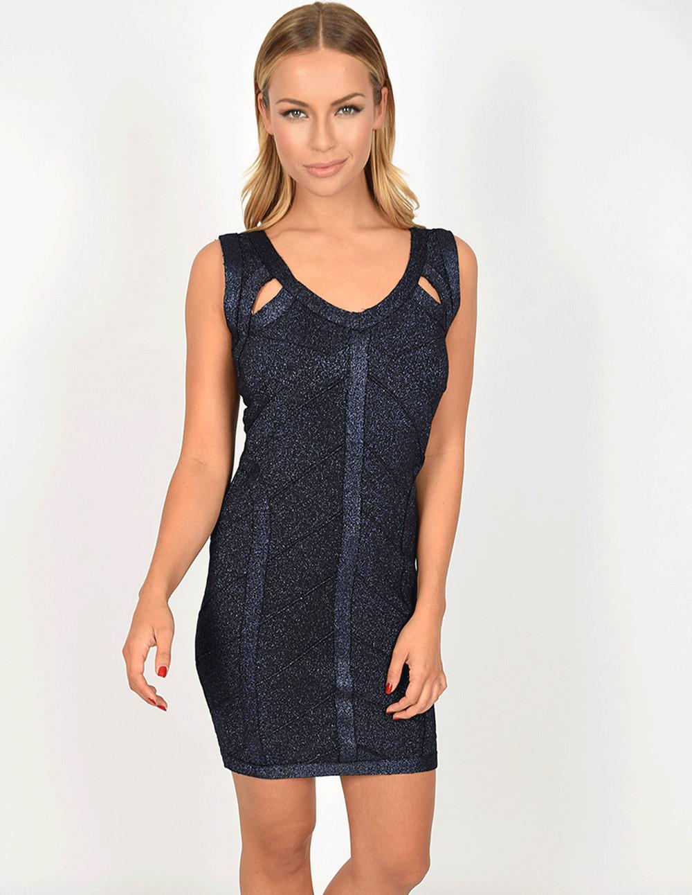 Blue Vanilla NICOLA - Lurex Knit Bodycon Dress in blue