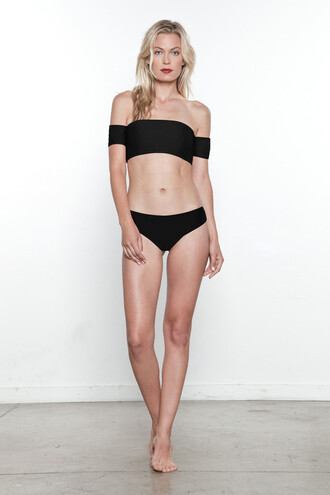 swimwear bardot bikini top black bikini top brigitte bardot