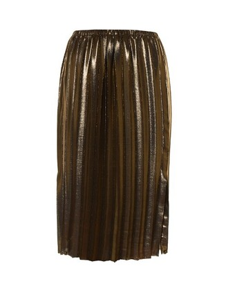 skirt midi skirt pleated midi gold
