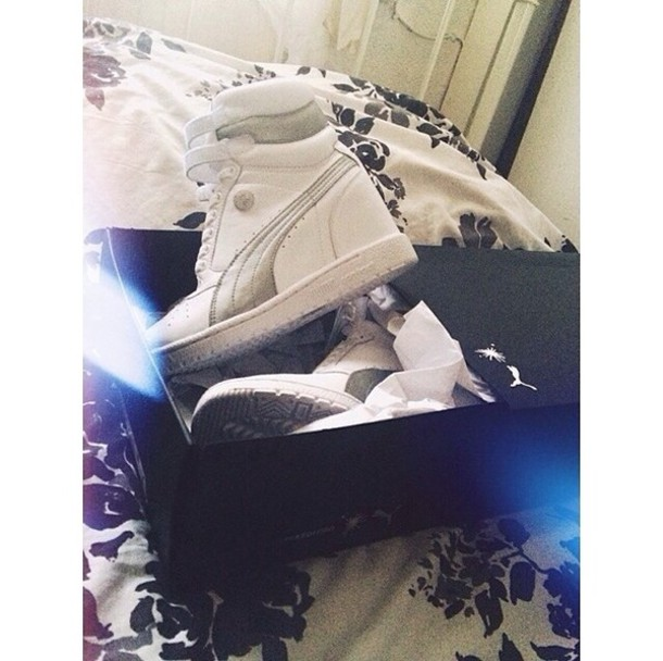shoes puma high top sneakers white sneakers platform shoes heeled velcro white silver metallic sports luxe