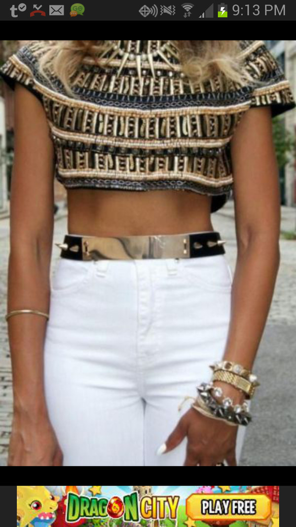shirt gold black crop tops gold belt belt
