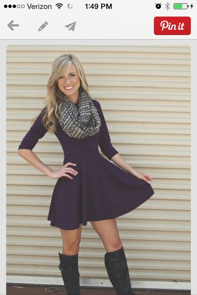 scarf dress purple dress cute dress