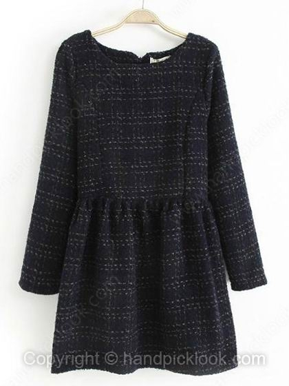 Black Long Sleeve Striped Dress - HandpickLook.com