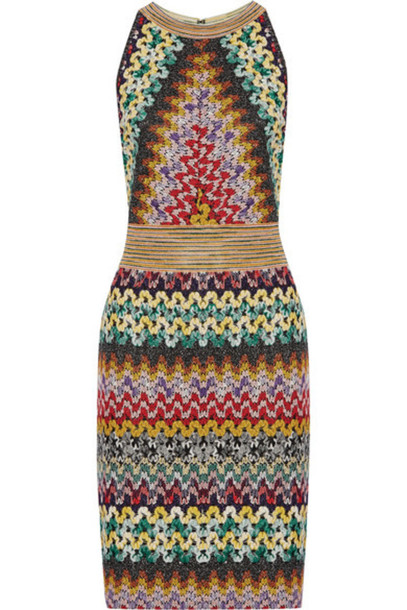 Missoni dress knit metallic green crochet