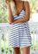 Neck stripe slip dress