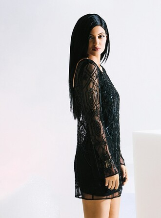 dress top black kylie jenner beaded dress