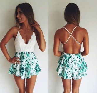 romper blackless romper floral white lace