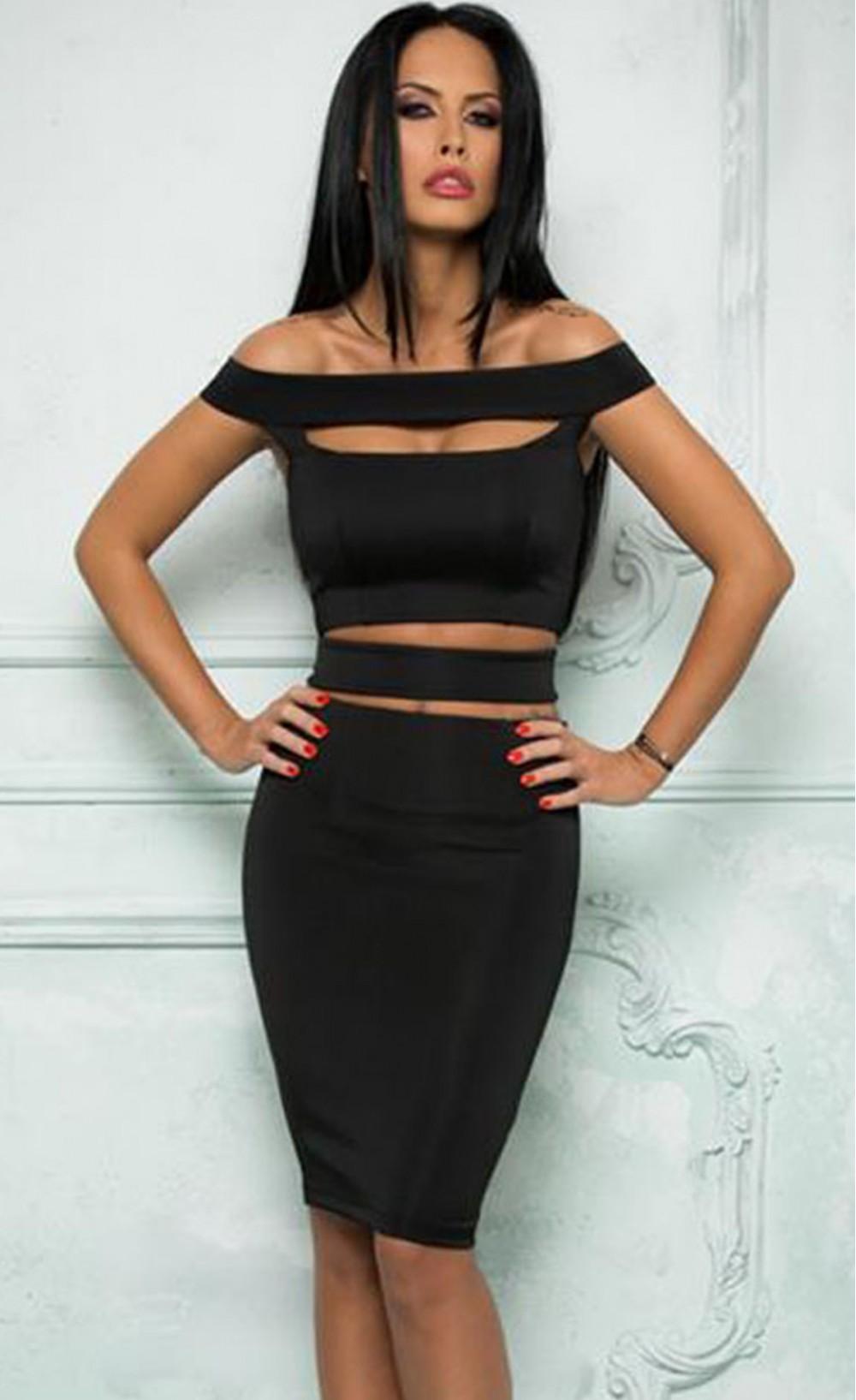 Chic Cutout Off Shoulder Skirt Set - Stella La Moda