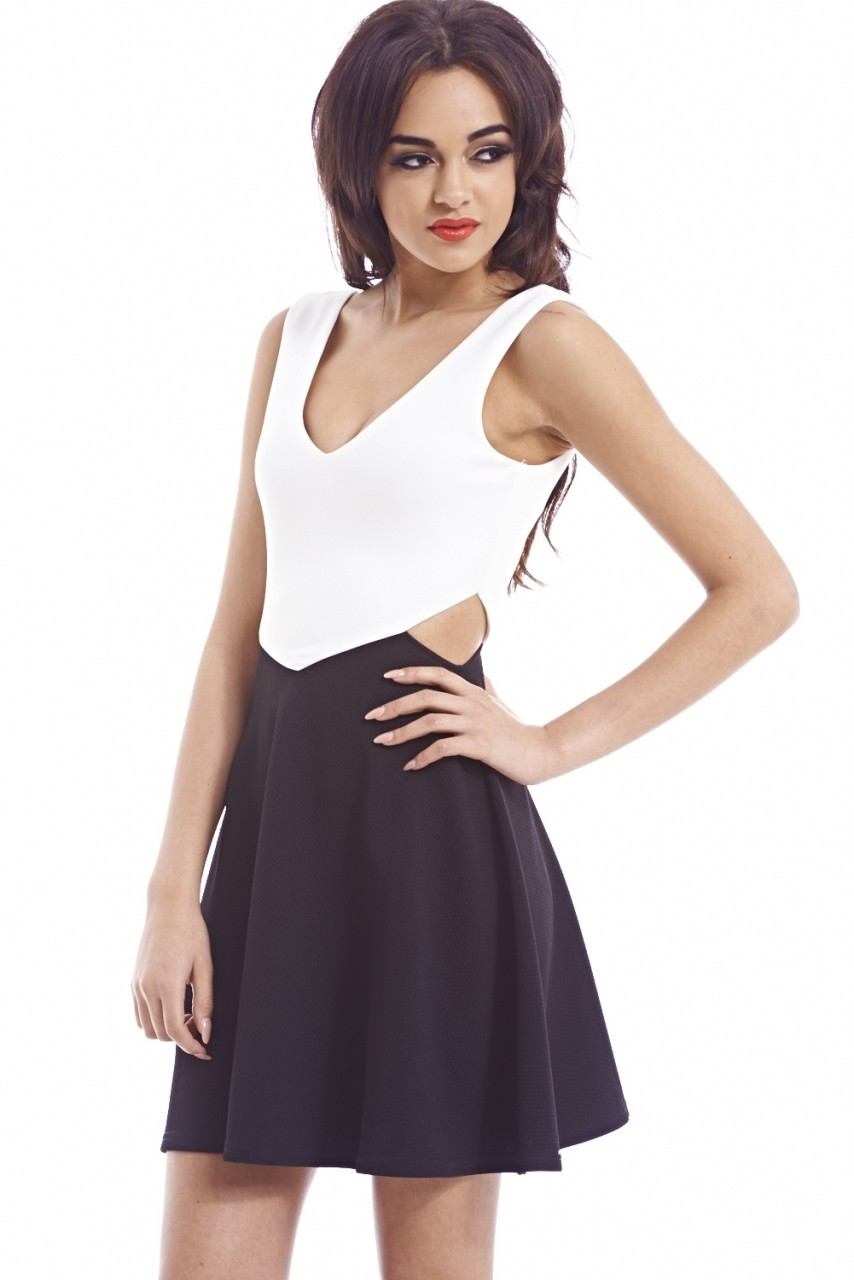 Black & Cream Cut Out Waist Skater Dress