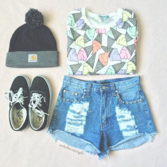 vans beanie denim shorts colorfull icecream colorful ice cream clothes hat black vans shorts High waisted shorts