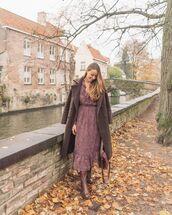 dress,leopard print dress,brown coat,brown boots,brown bag,knee high boots,midi dress
