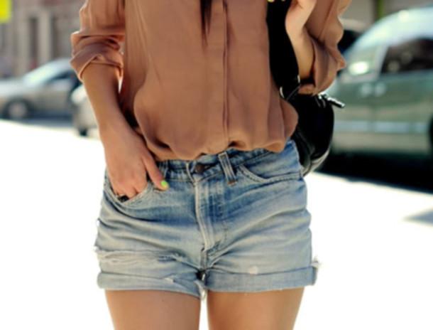shorts jeans blue blouse purse