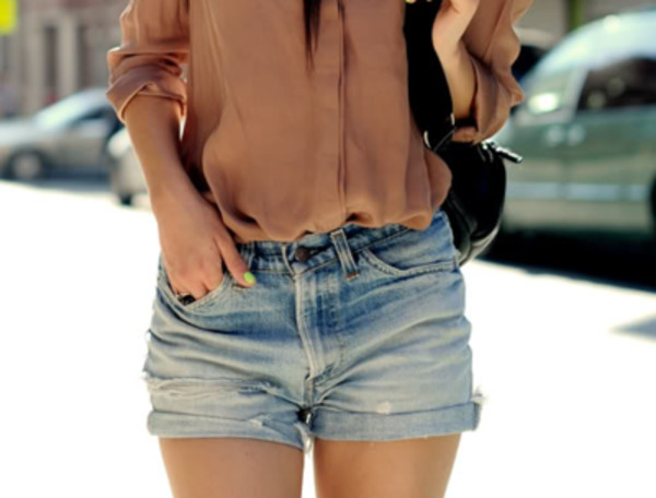 shorts jeans blue blouse purse