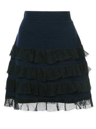 skirt mini skirt mini ruffle women cotton blue