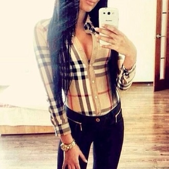 blouse jewels jeans burberry shirt burrbery plaid shirt tan black stripes red stripes