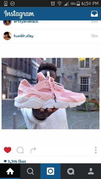 4c49844edba9 shoes baby pink nike air huaraches pink nike air huaraches custom shoes  pastel pink nike nike