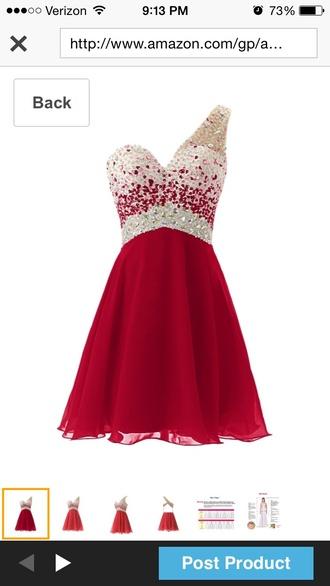 short dress chiffon red dress one shoulder beaded