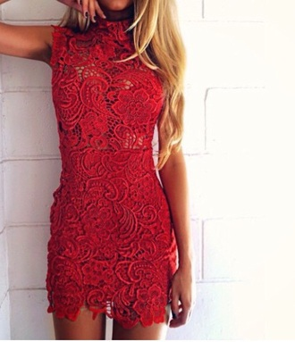 dress red shorts red dress lace lace dress bodycon bodycon dress sexy party party dress turtleneck short