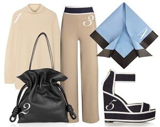 by funda blogger scarf wide-leg pants camel wedge sandals bucket bag silk scarf