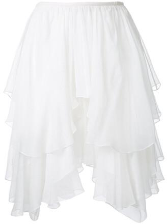skirt ruffle women white silk