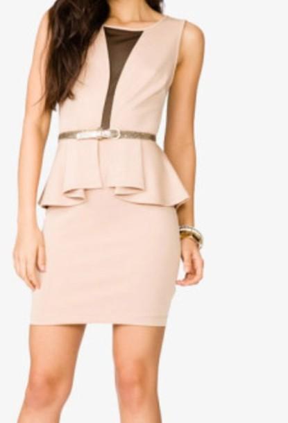 dress beige pemplum short short dress party dress