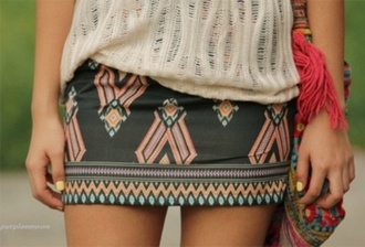 skirt aztec tribal skirt tribal pattern grey skirt