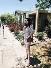 shoes,dress,stripes,sandals,nude sandals,sunglasses,bag,brown bag