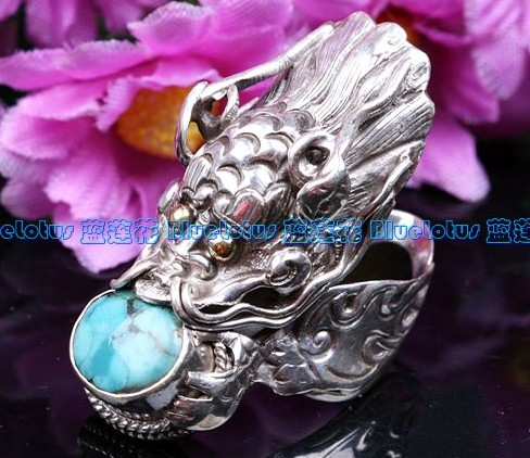 Handmade Tibetan Sterling Silver Turquoise Dragon Ring - Wishbop.com